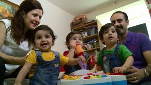 Selma and Miraz Yolku with their triplets Lorin, Asmin and Robin.