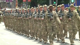 Yorkshire Regiment parade through Hull
