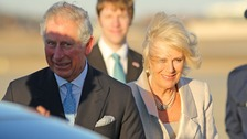 Prince Charles and Camilla land at Andrews Air Force Base in Maryland.