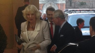 Prince Charles and Camilla arrive at the British Embassy in Washington.