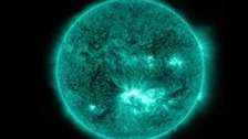 NASA's Solar Dynamics Observatory captured images of the solar storm.