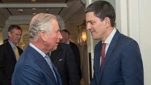 Prince Charles meets David Miliband in Washington.