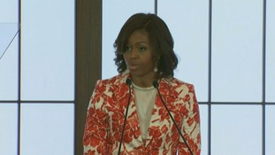 US First Lady Michelle Obama speaks in Tokyo.