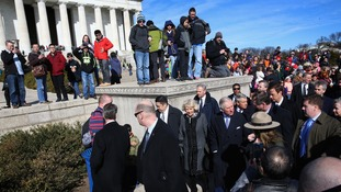 Crowds gathered as Charles and Camilla visited the Lincoln Memorial.