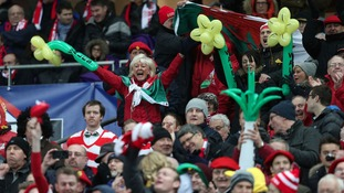 Wales fans celebrating during the Six Nations game against France