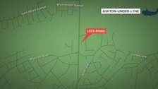 Map shows the location of Lees Road in Ashton-under-Lyne