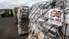 UK Aid arrives at Bauerfield International Airport in Vanuatu after the region was battered by Cyclone Pam