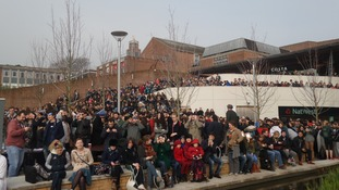 Big crowds at Exeter University to watch the partial solar eclipse