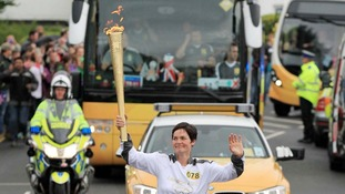 llen MacArthur carrying the Olympic Flame on the Torch Relay leg between Carisbrooke and East Cowes