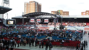 General view of Upton Park as it prepares for the David Haye and Dereck Chisora fight