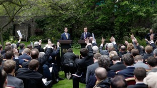 The first joint press conference of the coalition government in the Downing Street garden in 2010.