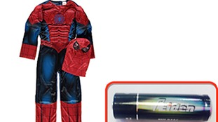 The recalled spiderman suit