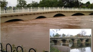 Picture showing how height of River Teme yesterday