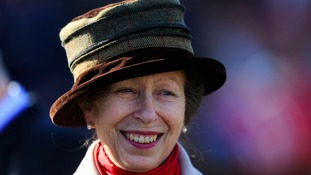 The Princess Royal in the parade ring during Grand Military Gold Cup Day at Sandown Park Racecourse.