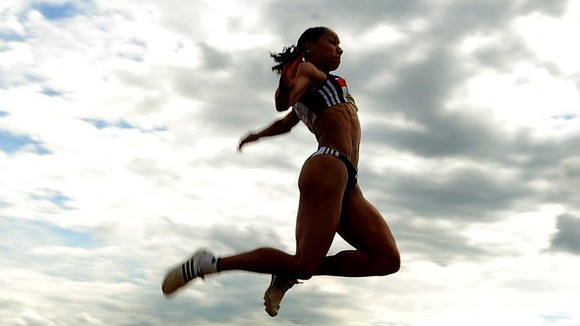 Jade Johnson competes in the Women's Long Jump in 2008.