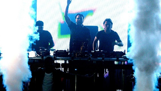 Swedish House Mafia pictured at one of their UK concerts last year