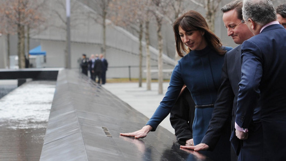 Prime Minister David Cameron, visits Ground Zero with his wife Samantha Cameron