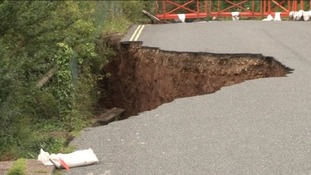 Road collapses near Seaton due to rainfall