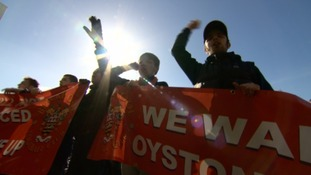 Fans stage a protest at Blackpool FC last weekend.