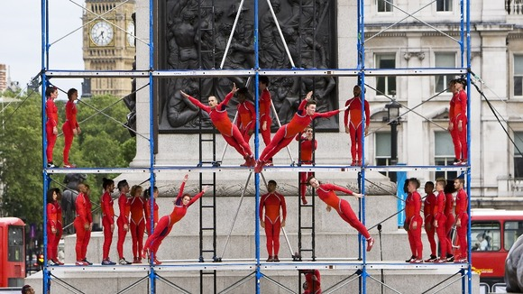 Dancers performing Human Fountain at Trafalgar Square, London.