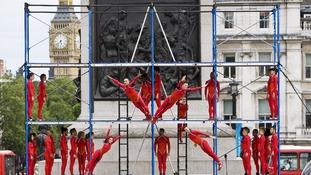 Dancers performing Human Fountain at Trafalgar Square