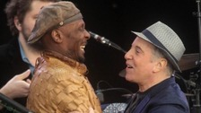 Paul Simon (right) with Jimmy Cliff at the Hard Rock Calling music festival in Hyde Park, London.