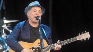 Paul Simon plays at the Hard Rock Calling music festival in Hyde Park, London