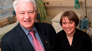 Sir Bobby Robson with Professor Ruth Plummer,  Cancer Trials Research Centre