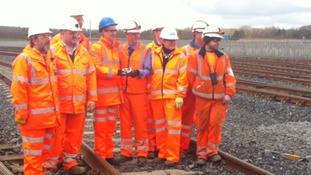 Photocall for some of the workers who have worked on the project