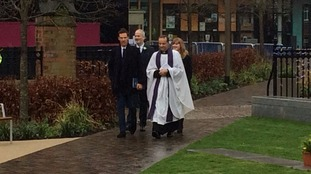 The actor arriving at Leicester Cathedral in the last few moments