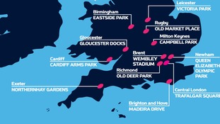 A map of the southern Fanzones
