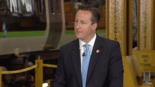 Prime Minister David Cameron addresses a news conference in Smethwick.
