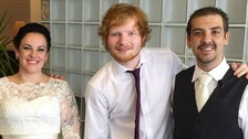 Ed Sheeran poses with the happy couple.