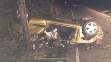 Three teenagers are in hospital after the crash
