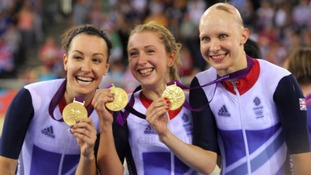 Jo Rowsell (right) celebrates after winning the Women's Team Pursuit Final at London 2012