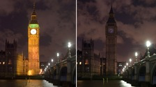 The clock tower at the House of Parliament before and during Earth Hour