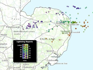 Lightning strikes in the Anglia region between 2.20 and 3.20 pm on Sunday 30 March 2015