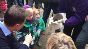 Liberal Democrat leader Nick Clegg with his party's MP for Solihull Lorely Burt meets children during their visit to Parkridge Centre, part of the Warwickshire Wildlife Trust in Solihull.