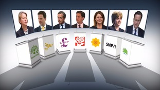 The line-up for the seven party leaders in Thursday's debate