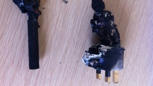 Fire damaged e-cigarette charger