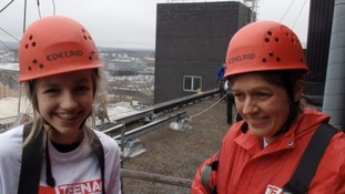 Cumbrian teenager celebrates 10 years clear of cancer by abseiling down hospital walls for charity