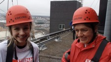 Katy and her mum, who abseiled down Yorkhill Hospital in Glasgow to raise money for charity
