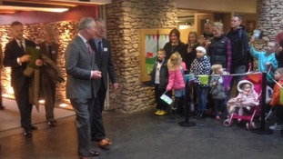 Prince Charles arriving inside the Rheged Centre