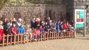 Crowds gathered outside in Rheged Centre to meet Prince Charles