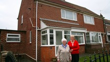 Esther and Linda outside the winning house in Sunderland.