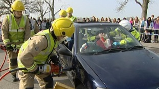 Students watched a presentation by the fire service