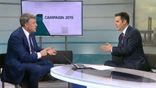Ed Balls speaking to Ian Axton on yesterday's ITV News West Country