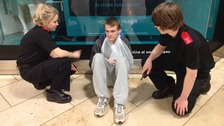 Cadets dealing with one of the scenarios during their night shift at intu Metrocentre.