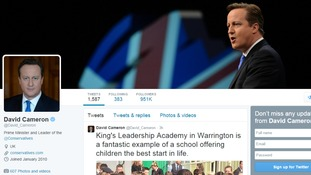 David Cameron is the most followed leader.