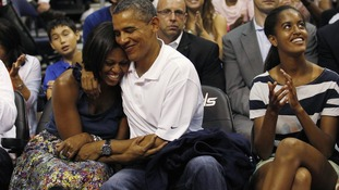 Barack and Michelle Obama on Kiss Cam
